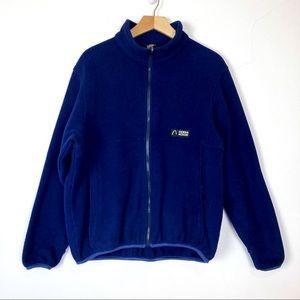 Vintage navy blue fleece zip up sweater jacket